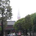 東京タワーも雲に隠れる
